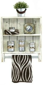 Rustic Wooden Double Towel Rack