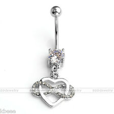 14G Stainless Steel CZ Infinity Heart Charm Belly Navel Ring Stud Piercing Bar