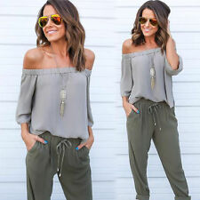 Sexy Womens Off Shoulder Tops Fashion Long Sleeve Casual Blouse Loose T-shirt