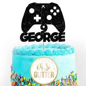 Gaming customised cake topper name boy male floss controller pad remote any age