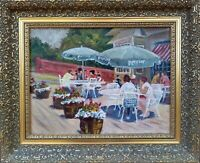"""""""T. C. Trotter's Patio Cafe"""" OIL ON CANVAS by artist """"S.W. Saunders"""""""