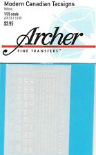 Archer Transfers Decals Canadian White Tactical Signs 1/35 AR35118W