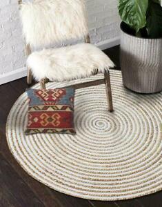 Rug Round Cotton Jute Handmade Braided Style Reversible Modern Rustic Look Rug