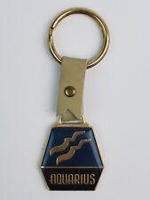 Vintage Zodiac Sign Enamel Keychain Aquarius Water Bearer Blue w/ lucky numbers