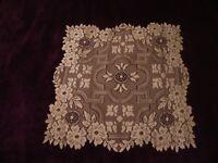 "Ivory lace Filigree design  table Doily 15"" square"