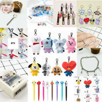 Kpop BTS BT21 Bangtan Boys Cartoon JIMIN JUNKOOK SUGA Plush Doll Key Ring Fans