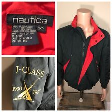 Vintage Nautica Challenge J Class Jacket Green Red liner Hooded size Small rare