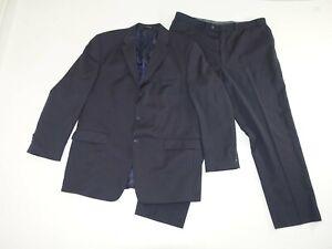 Calvin Klein Men's 3 Button Suit Size 44 Long 40 x 30 Navy Blue 100% Wool 44L