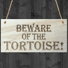 Beware Of The Tortoise Novelty Wooden Hanging Shabby Chic Plaque Pet Sign Gift