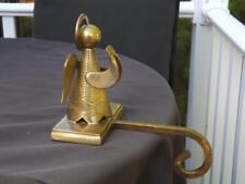 Heavy Polished Brass Angel Caroler Stocking Holder