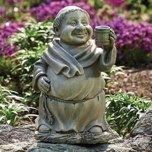 "Roman 12"" Garden Monk with Mug Coffee Wine Resin/Stone Outdoor Patio Statue New"