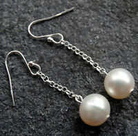 NWT STERLING SILVER real PEARL bead dangle drop Edwardian pierced earrings K49