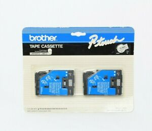 """Brother p-touch 2 PC black tape cassette laminated labels TC-MOZ 9mm 3/8"""" New!!"""