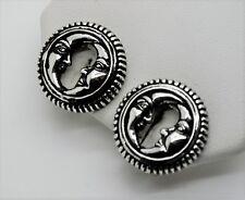 Unique Designer Style Rhodium Plated  Moon Face Shape  Clip Fashion Earrings