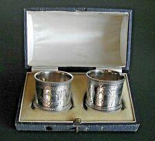 More details for superb boxed pair of silver napkin rings - walter & john barnard - london 1883