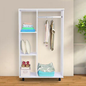 Open Wardrobe on Wheels, W/ Rods and Shelves,Clothes, Shoes Organizer Rack
