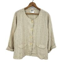 Flax Striped Linen Button Front Top Womens Medium Long Sleeve Blouse Pockets