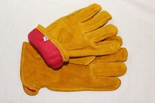 Fleece Lined Russet Cowhide Leather Outdoor Autumn / Winter Work Gloves Small