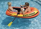 2 PACK Intex Explorer 200 Inflatable Two Person Boat Set with Paddles & Pump
