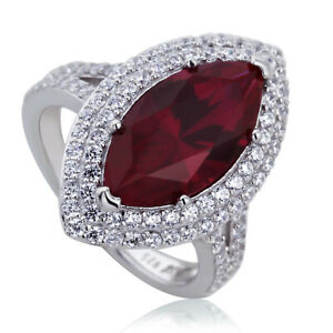 Women 21mm Platinum Plated Silver 3.8ct Ruby Marquise CZ Engagement Ring