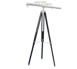 "Chrome 39"" Telescope with Wooden Stand"