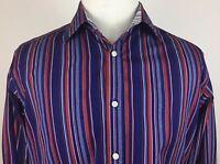 Tailorbyrd Striped Flip Cuff 2 Ply Egyptian Yarn Dress Shirt Men's size Large L