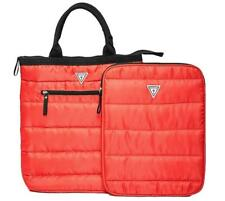 New Guess Women's Red Quilted Tote Bag & Matching Laptop Cover Case Sleeve
