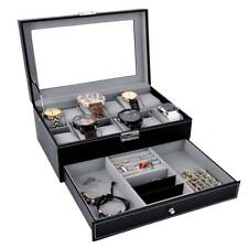 12 Slots 2 couches Watch Display Case Jewelry Storage Organizer Leather Box