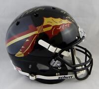 Anquan Boldin Signed FL State Black F/S Helmet w/ Natl Champs - JSA W Auth Gold