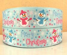 RUBAN GROS GRAIN ** 25 mm ** Bonhomme de neige Joyeux Noël Bleu - vendu au mètre