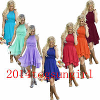 Halter Short Chiffon Bridesmaid Ball Gown Party Formal Evening Prom Dress 2-26W