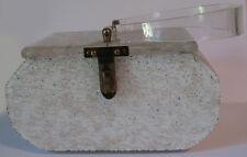 VINTAGE FLORIDA HANDBAGS CARVED LID TINSEL GLITTER WHITE LUCITE PURSE BAG