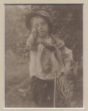 YOUNG BOY POINTING TOY GUN AT CAMERA 8X9 FRAMED ALBUMEN PRINT PHOTO