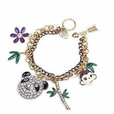 BJ124 Betsey Johnson Monkey & Panda Head Charm Bracelet w/Tags