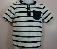 New Crazy 8 Size 2T Boys Short Sleeve Blue White Striped Cotton Shirt NWT
