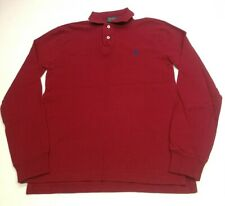 Polo Ralph Lauren Mens Long Sleeve Polo Shirt, Size S, Red, 100% Cotton, GC AB7