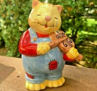 "Ceramic Cat Figurine Coin Bank ""CAT AND THE FIDDLE"" Piggy Bank Playing Violin"