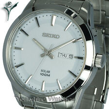 New Mens SEIKO SOLAR White Face Day Date With Stainless Steel Bracelet SNE359P1
