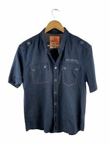 Rivers Button Up Shirt Mens Size L Black Short Sleeve X Slim Fit Military Pocket