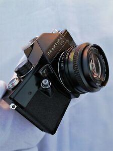 Vintage Praktica LTL Black 35mm SLR Camera, Vivitar 28mm f2.8 Auto Wide Angle.