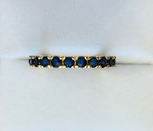 14k Solid Yellow Gold Eternity Band Ring W/Natural Sapphire Round2.1CT7.25US2.2G