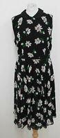 HOBBS Ladies Black Multi Floral Francesca Fit Flare Dress UK14 BNWT RRP œ149