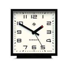 Newgate Modern Black Square Mantel Clock with No-Tick Silent Sweep Movement