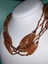 Vintage Amber Orange Plastic Seed Bead Choker Multi Strand Necklace