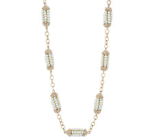 """Grace Kelly Collection Simulated Pearl Station Necklace 33""""L Goldtone"""
