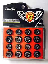 Auto WheelPack Scuderia73⭐️4⭐️set Rubber Tires 5 spoke w/long axle for Hotwheels