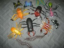 Set of 12 Large Plastic Insects Butterflies, Bugs, Fly, Scorpion, Millipedes +