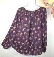 New Women's Purple Floral Print Boho Tunic Peasant Top Blouse Shirt 2X NWT