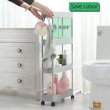 3/4 Tier Utility Rolling Storage Trolley Cart Slim Slide Organizer with Wheels