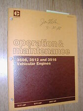 CAT Caterpillar 3508 3512 3516 OPERATION MAINTENANCE MANUAL VEHICLE DIESEL ENG